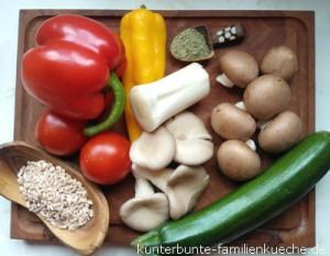 Dinkel-Paprika-Pilz Zutaten